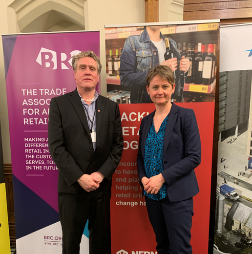 Stuart Reddish, NFRN's National President, standing with Yvette Cooper, the Chair of Home Affairs