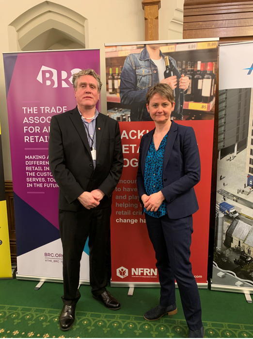 Stuart Reddish, NFRN's National President, standing beside Yvette Cooper, the Chair of Home Affairs.