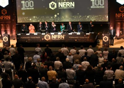 NFRN stalwart Graeme Collins signs off his final conference to a standing ovation.